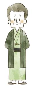着物の年配男性-全身-水彩のイラスト素材 [FYI04772316]