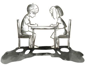 絶望する男女-夫婦・カップル-水彩のイラスト素材 [FYI04772654]