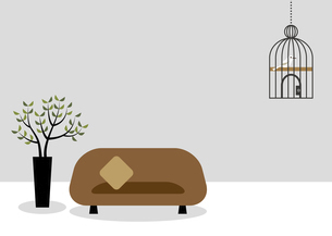 ソファーと鳥かごのある部屋 イラストのイラスト素材 [FYI04772743]