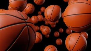 Many basketball balls on black background.のイラスト素材 [FYI04772746]
