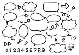 手描き ふきだしイラストセット 白黒線画のイラスト素材 [FYI04772777]
