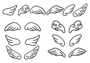 手描き 羽根のイラストセット 白黒線画のイラスト素材 [FYI04772780]