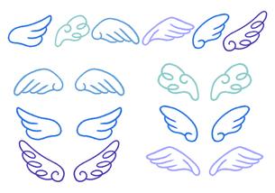 手描き 羽根のイラストセット 青い線画のイラスト素材 [FYI04772781]