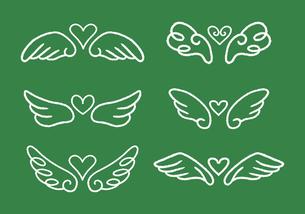 手描き ハートと羽根のイラストセット チョークアート風のイラスト素材 [FYI04772782]