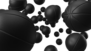 Many black basketball balls on white background. Abstract 3d illustration for background.のイラスト素材 [FYI04773082]