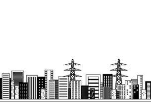飛行機 都市 ビル群のイラスト素材 [FYI04773549]