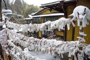 黒川温泉 雪が積もるおみくじの写真素材 [FYI04773589]