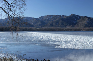北海道 屈斜路湖の冬の風景の写真素材 [FYI04773754]