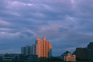 夕日に染まる多摩川土手の集合住宅の写真素材 [FYI04774024]