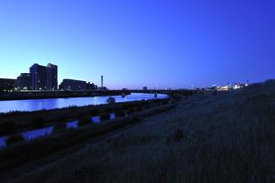 多摩川河川敷の夜明けの写真素材 [FYI04774028]