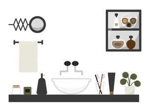 洗面所 棚 洗面台 鏡 イラストのイラスト素材 [FYI04774104]