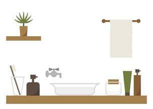 洗面所 タオル 植物 ナチュラル イラストのイラスト素材 [FYI04774112]