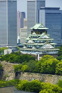 新緑の大阪城とOBPビル群の写真素材 [FYI04774137]