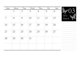 胡蝶 アゲハチョウのシンプルなモノクロのカレンダー 2021年3月のイラスト素材 [FYI04774189]