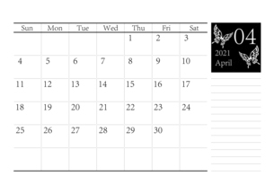 胡蝶 アゲハチョウのシンプルなモノクロのカレンダー 2021年4月のイラスト素材 [FYI04774190]