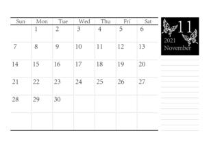 胡蝶 アゲハチョウのシンプルなモノクロのカレンダー 2021年11月のイラスト素材 [FYI04774197]