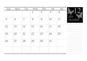 胡蝶 アゲハチョウのシンプルなモノクロのカレンダー 2021年12月のイラスト素材 [FYI04774198]