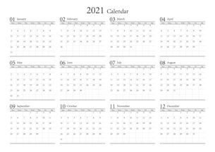 2021年 シンプルなモノクロのカレンダー 12カ月 ベクターのイラスト素材 [FYI04774199]