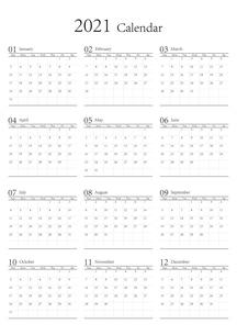 2021年 シンプルなモノクロのカレンダー 12カ月 ベクターのイラスト素材 [FYI04774200]