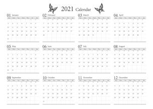 胡蝶 アゲハチョウ 2021年のシンプルなモノクロのカレンダー 12カ月のイラスト素材 [FYI04774201]