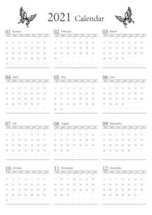 胡蝶 アゲハチョウ 2021年のシンプルなモノクロのカレンダー 12カ月のイラスト素材 [FYI04774202]