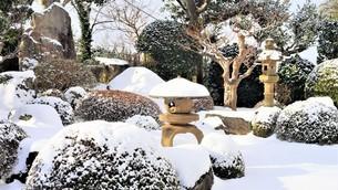雪の日本庭園。の写真素材 [FYI04774223]