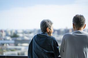 景色を眺めるシニア夫婦の後ろ姿の写真素材 [FYI04774828]