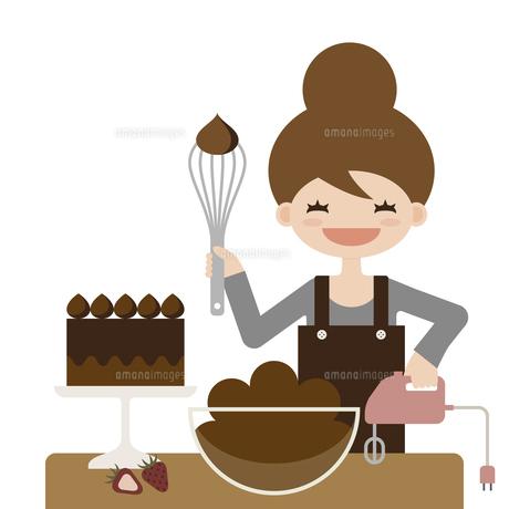 チョコレートケーキ 女の子 手作り イラストのイラスト素材 [FYI04774832]
