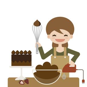 チョコレートケーキ ハンドメイド ママ イラストのイラスト素材 [FYI04774833]