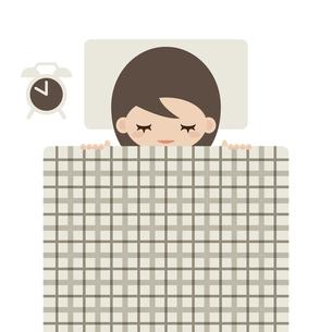 睡眠をとる女性のイラスト素材 [FYI04775371]