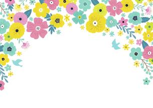 花の背景フレーム 手描きテイストの装飾のイラスト素材 [FYI04775503]