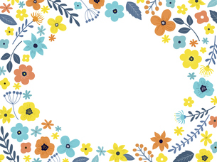 花の背景フレーム 手描きテイストの装飾のイラスト素材 [FYI04775725]