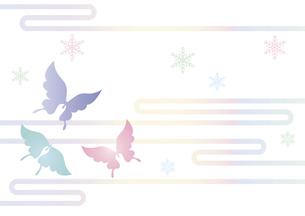 胡蝶と雪の結晶 イラスト 切り絵のようなデザイン 寒中お見舞い happy holidays 背景素材のイラスト素材 [FYI04775794]