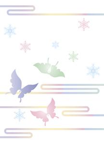 胡蝶と雪の結晶 イラスト 切り絵のようなデザイン 寒中お見舞い happy holidays 背景素材のイラスト素材 [FYI04775797]