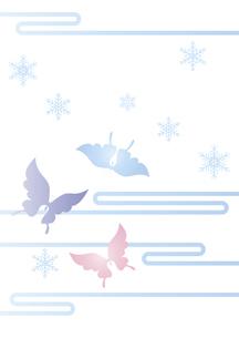 胡蝶と雪の結晶 イラスト 切り絵のようなデザイン 寒中お見舞い happy holidays 背景素材のイラスト素材 [FYI04775798]
