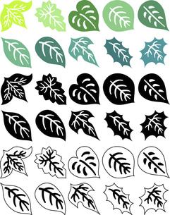 色々な形の葉っぱの可愛いアイコンのイラスト素材 [FYI04775800]