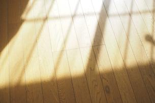 リビングの床に映る夕暮れの窓の影の写真素材 [FYI04776193]