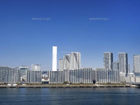 東京都 晴海客船ターミナルと高層マンション街の写真素材 [FYI04776201]