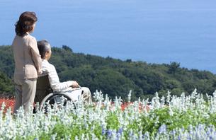 車椅子で散歩する夫婦の写真素材 [FYI04776273]