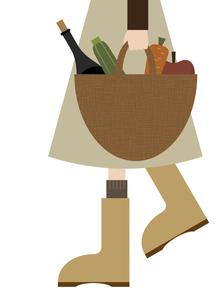 買い物かごを持って歩いている人のイラスト素材 [FYI04776422]