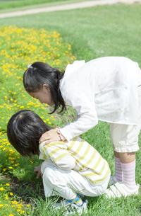 花畑で遊ぶ女の子と男の子の写真素材 [FYI04776582]