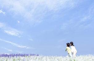 花畑を歩く女の子と男の子の写真素材 [FYI04776586]