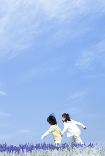 花畑を走る女の子と男の子の写真素材 [FYI04776588]