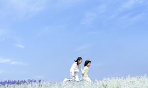 花畑を走る女の子と男の子の写真素材 [FYI04776590]