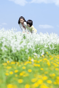 花畑で遊ぶ女の子と男の子の写真素材 [FYI04776594]
