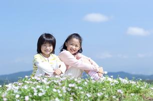 花畑に座る女の子と男の子の写真素材 [FYI04776598]