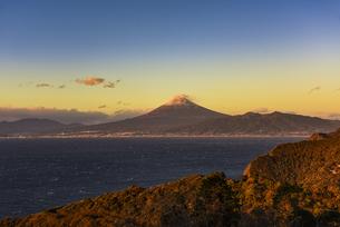 富士山と駿河湾の朝日と森の写真素材 [FYI04776679]