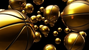 Many gold basketball balls on black background. Abstract 3d illustration for background.のイラスト素材 [FYI04776688]
