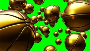 Many gold basketball balls on green chroma key. Abstract 3d illustration for background.のイラスト素材 [FYI04776793]