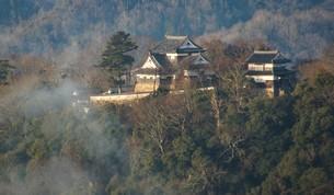 備中松山城(雲海から見えた)の写真素材 [FYI04776845]